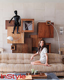 Channeling the interior's focus on texture and movement, a low Tobia Scarpa sofa is embraced by a 1970s geometric cabinet and an oversize artist's model.  Photo by Dean Kaufman for InStyle