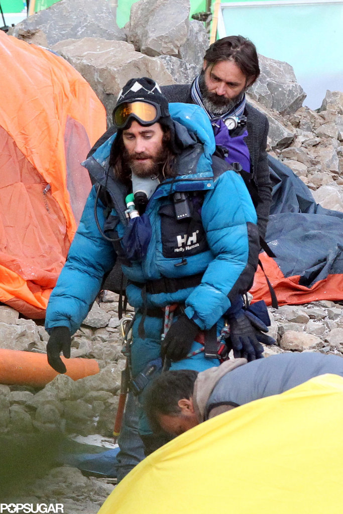 Jake Gyllenhaal filmed Everest in Rome on Wednesday while wearing full mountain-climbing gear.