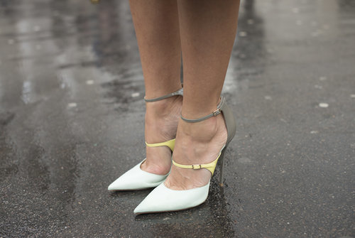 These aren't your mom's pumps — multicolored pastel straps feel distinctly new.