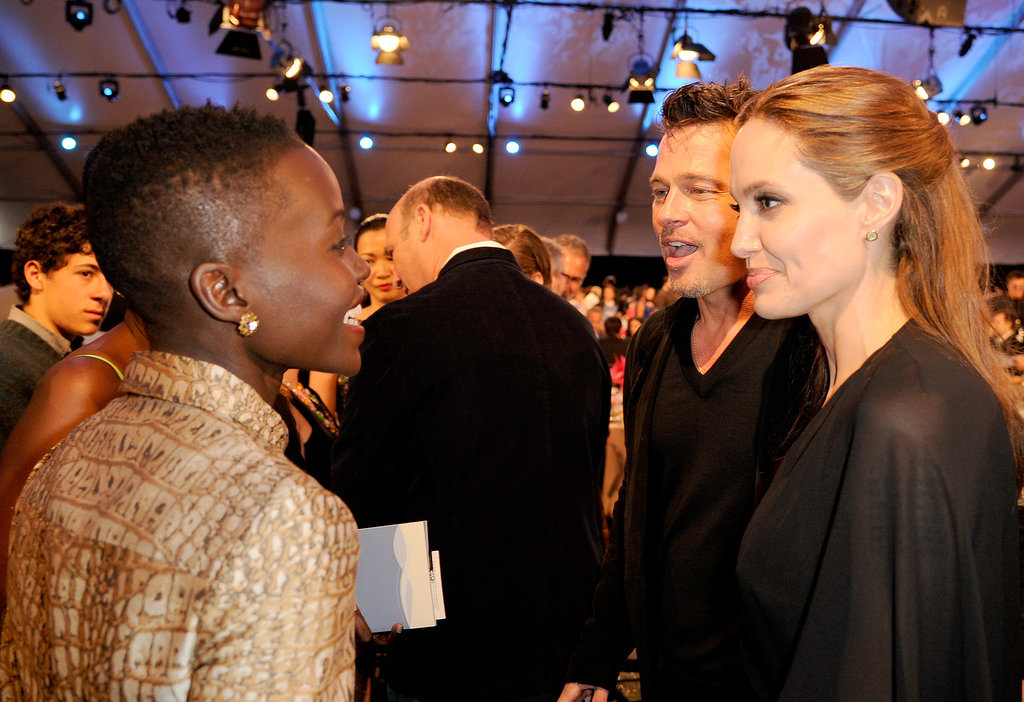 Lupita Nyong'o  had a smiley chat with Brad Pitt and Angelina Jolie.