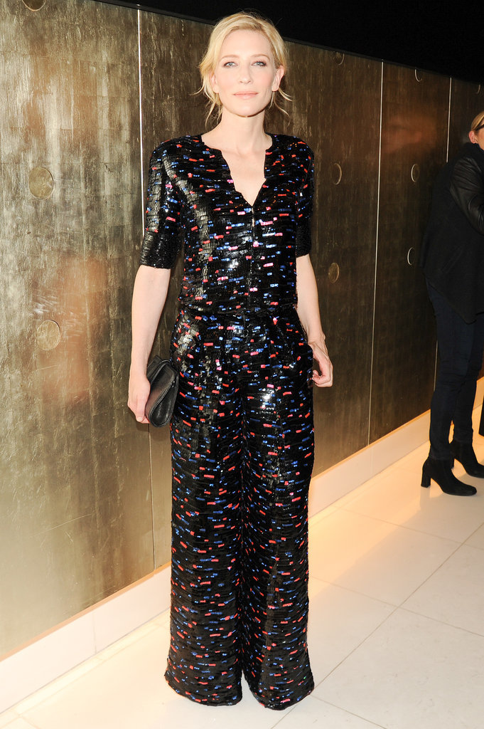 Cate Blanchett wore her hair up for the Giorgio Armani's soiree on Friday.