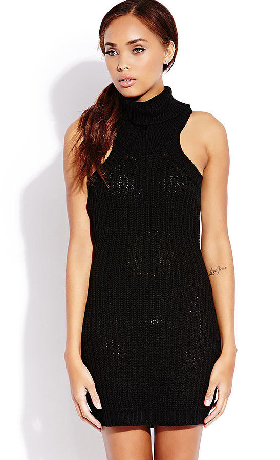 Forever 21 Knit High-Neck Black Sweater Dress ($19, originally $28)