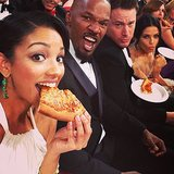 Corinne Foxx snapped a selfie while eating pizza in the audience with her dad, Jamie; Channing Tatum; and Jenna Dewan. Source: Twitter user corinnefoxx