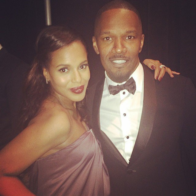 Kerry Washington posed backstage alongside Jamie Foxx. Source: Instagram user kerrywashington