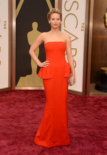 Jennifer Lawrence in Red Dior Dress at the Oscars