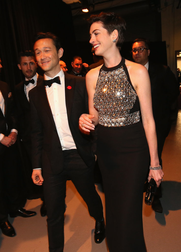 Joseph Gordon-Levitt had Anne Hathaway laughing backstage.