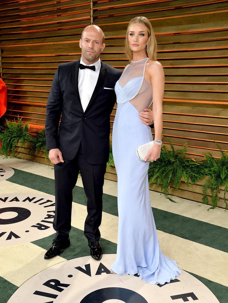 Rosie Huntington-Whiteley and her boyfriend, Jason Statham, posed.
