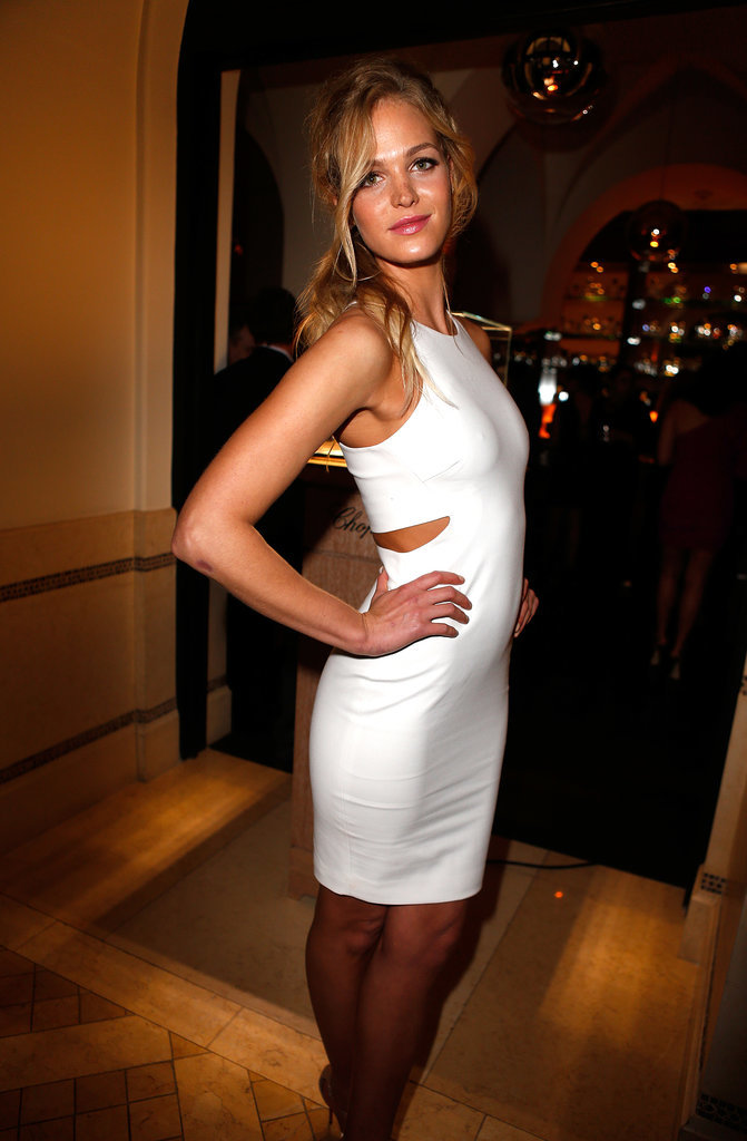Victoria's Secret model Erin Heatherton struck a pose in the Elizabeth and James Lela Dress.