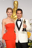 Jennifer Lawrence posed with McConaughey and his statue.