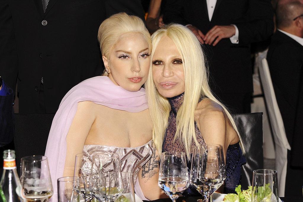 Lady Gaga sat with Donatella Versace.