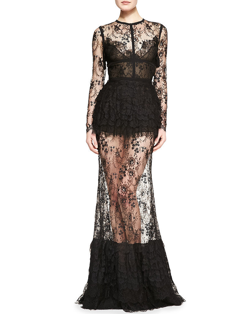 Black Lace Maxi Dress ($9,150) | Copy Diane Kruger's Sheer Black Lace ...