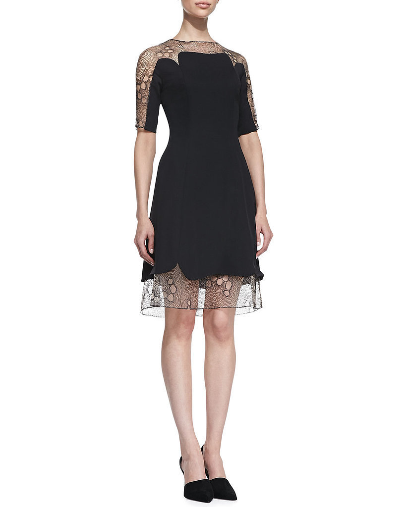 Lela Rose A-Line Sheer Black Lace Tulle Combo Dress ($1,695)