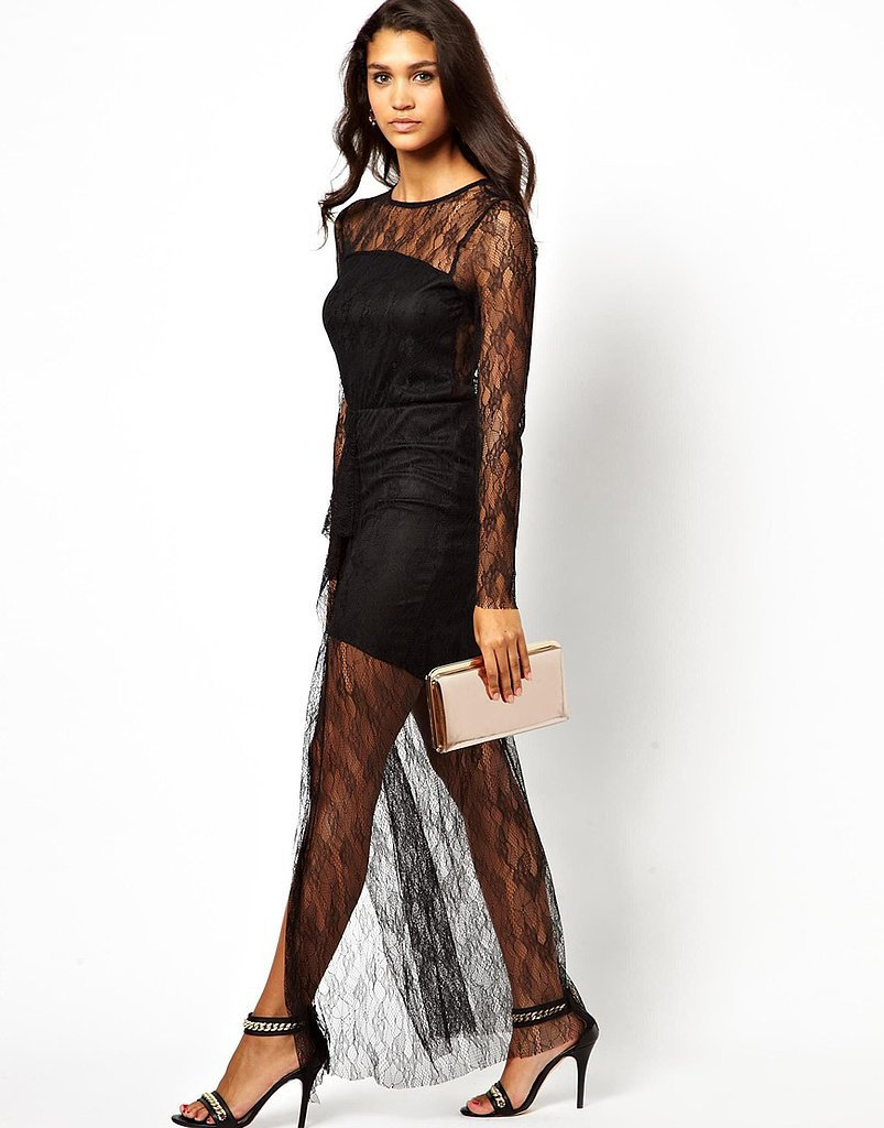 Pearl Black Lace Sheer Maxi Dress ($30, originally $122)