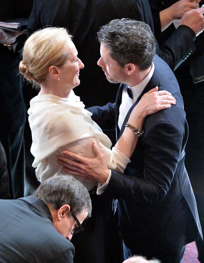 Meryl Streep hugged Darren Le Gallo, Amy Adams's fiancé.