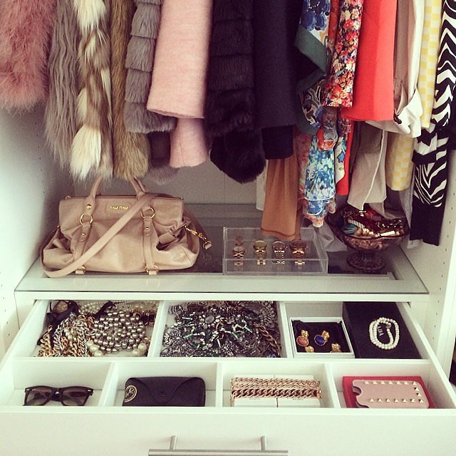 You know that organization is key for a great closet — but even the smallest of items needs a proper place. Take a note from this instagrammer and consider translucent accessory cases that show off your best finds while keeping your space tidy.  Source: Instagram user thebeadayse