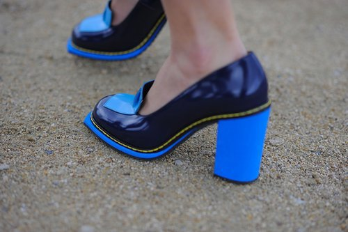 Brilliant shades of blue make these heeled loafers far from conservative.  Source: Gorunway.com/Matteo Catena