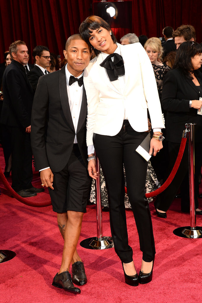 Pharrell Williams walked the red carpet in shorts with his wife, Helen Lasichanh, by his side.