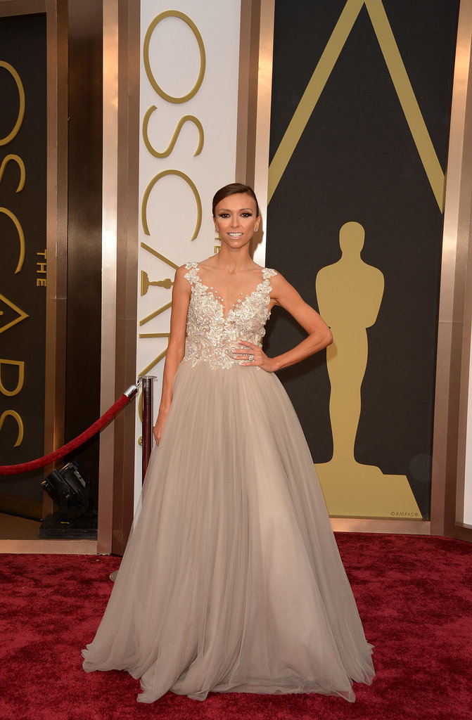 Giuliana Rancic wearing a gown by young Australian designer Paolo Sebastian, Sergio Rossi shoes and Forevermark diamond jewellery at the 2014 Oscars.