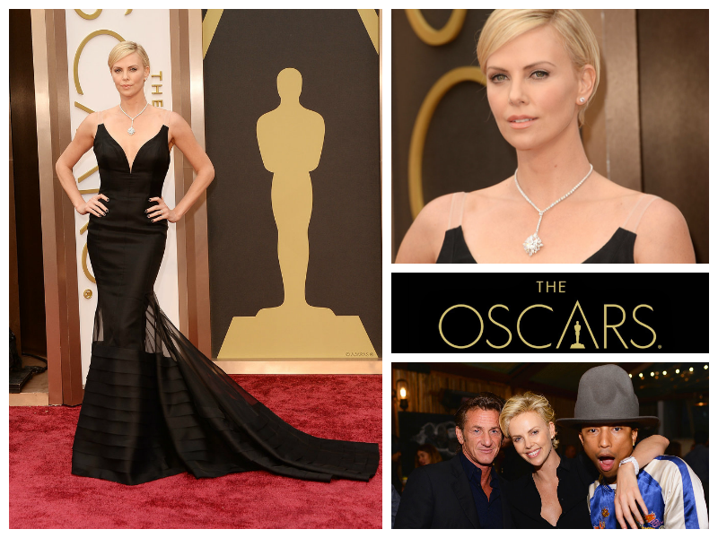 Charlize Theron Sean Penn Pharell Williams Happy Oscars Christian Dior Harry Winston Christian Louboutin
