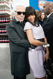 Rihanna cuddled with Karl.