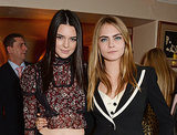 In London, Kendall caught up with fellow model Cara Delevingne at the launch of Love magazine's special editions.