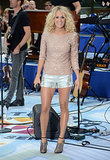 She was shining bright in a sequin sweater, brocade 7 For All Mankind shorts, and shimmering B Brian Atwood booties for her NBC Today performance in Summer 2012.