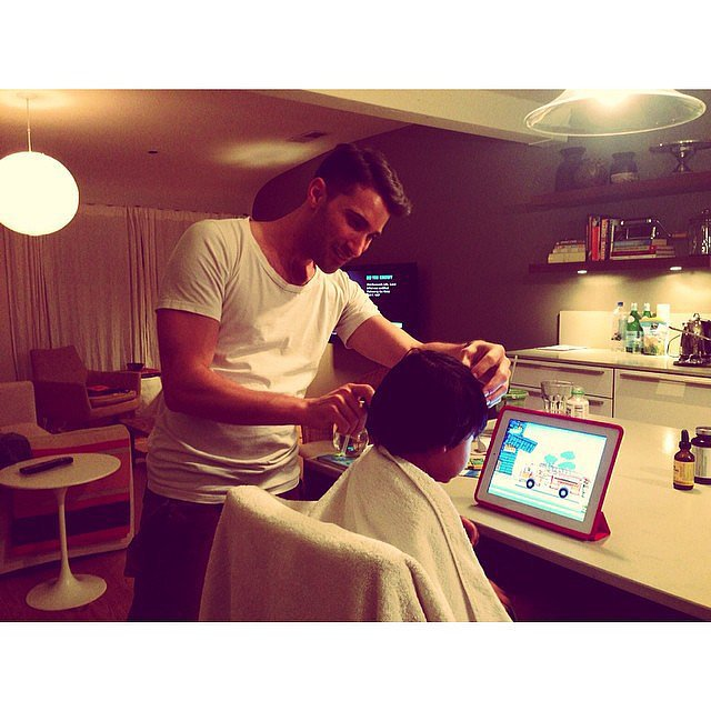 Phyllon Joy Gorré got a haircut in his kitchen from his mom Doutzen Kroes's own stylist. Source: Instagram user doutzen