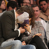 Mila Kunis and Ashton Kutcher Kissing at Lakers Game