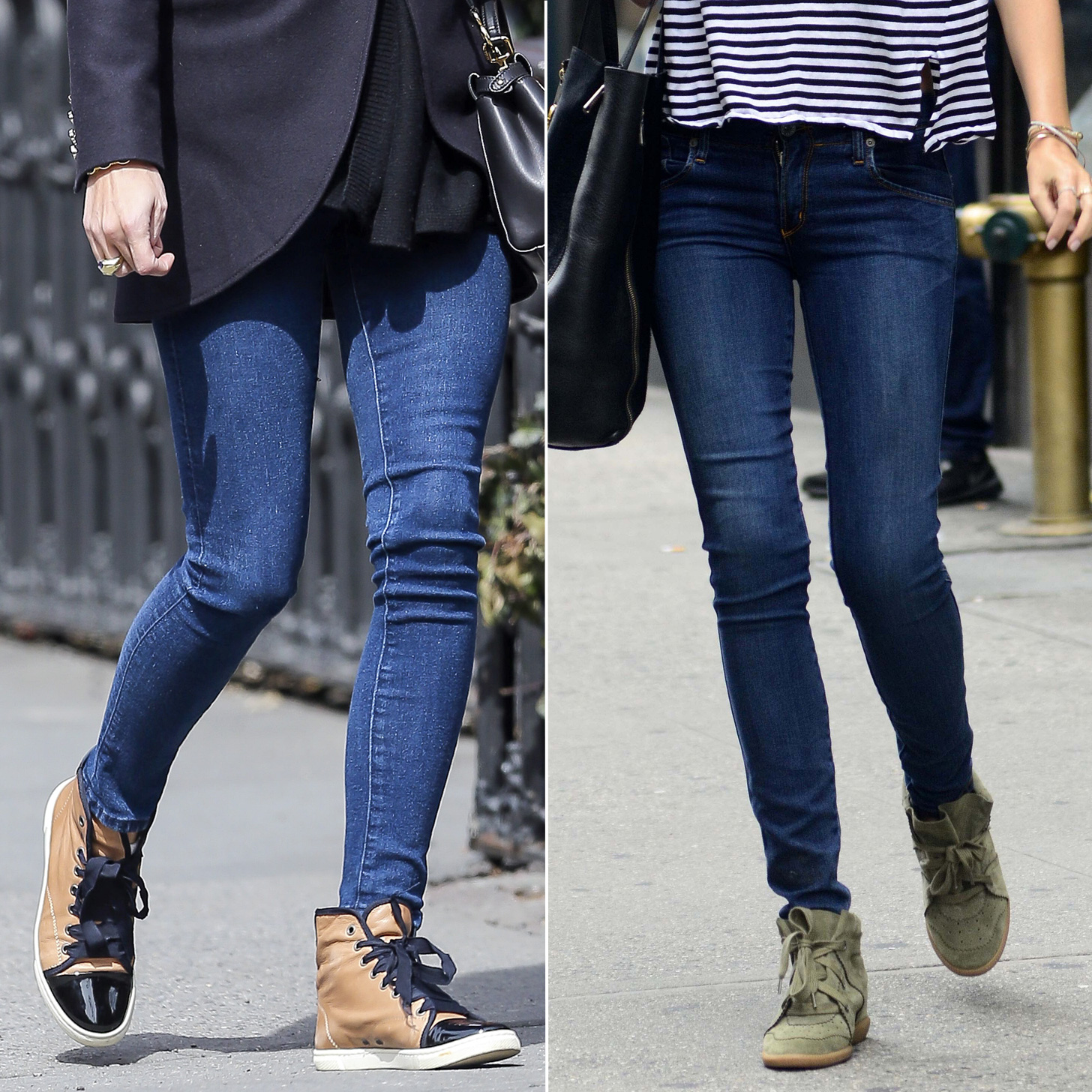 How to wear wedge trainers with jeans