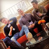 Zac Efron, Christopher Mintz-Plasse, and Dave Franco kicked back during their interview. Source: Twitter user ZacEfron