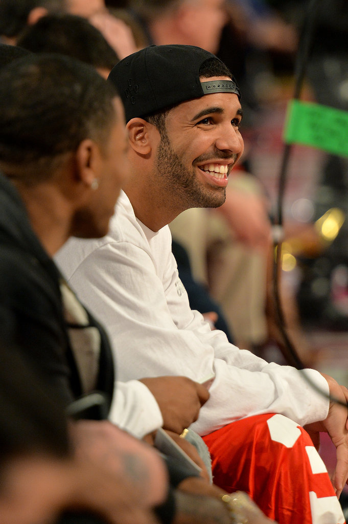 Drake was all smiles at an NBA All-Star game in February.