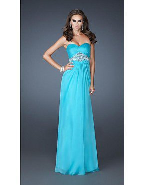 AquaMarine Prom Dress La Femme 18544 Intertwined Beading Chiffon