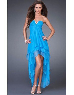 Blue 2014 La Femme Prom Gown 15033 Trendy High-Low  V-neckline