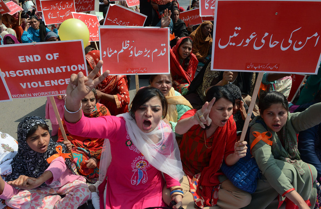 Pakistani human rights activists marched during International Women's Day in Lahore.