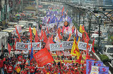 Female activists marched in Manila in the Philippines on behalf of women's rights.