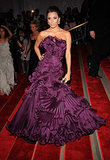 A sea of pleated ruffles covered Eva's aubergine Marchesa gown for the 2008 Met Gala.