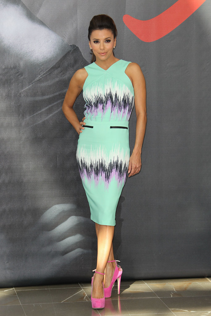 Summer fresh in a printed seafoam Versus dress and fuchsia embellished-heel Brian Atwood pumps in Monaco in June 2013.