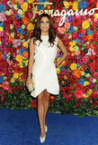 Eva showed her support for Ferragamo, donning a sculptural little white dress and gold-studded heels in April 2013.