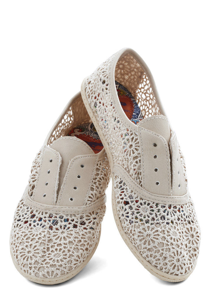 ModCloth Think Outside the Bocce White Lace Flats ($50)
