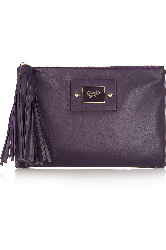 Anya Hindmarch Faithful Purple Tasseled Leather Clutch ($123, originally $490)