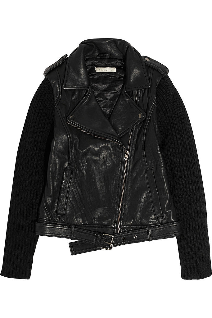 Sandro Black Leather and Knit Sleeve Motorcycle Jacket ($152, originally $760)