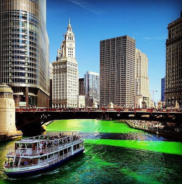 But the main attraction is the Chicago River, dyed green.