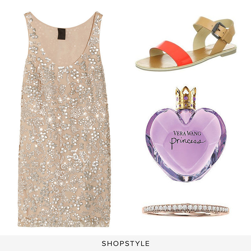 Vera Wang Sequined Tulle Top ($1,295), Vera Wang Women's Febe Sandal ($150), Vera Wang Princess Eau de Toilette Spray ($75), Vera Wang Simply Vera 14k Rose Gold Diamond Wedding Band ($445)