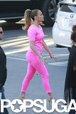 On Wednesday, Jennifer Lopez wore a hot pink outfit while on the set of American Idol in LA.