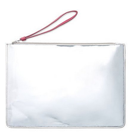 Club Monaco metallic silver Janet pouch ($99, originally $130)