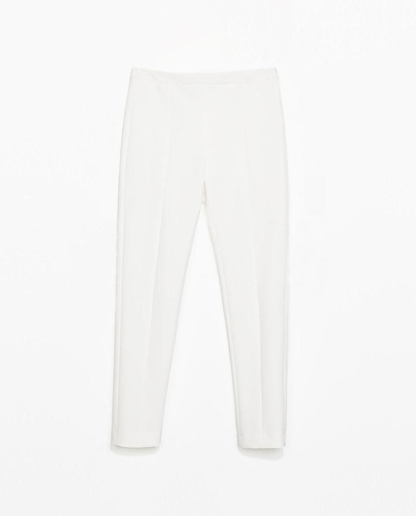 Zara white cropped ankle trousers ($60)