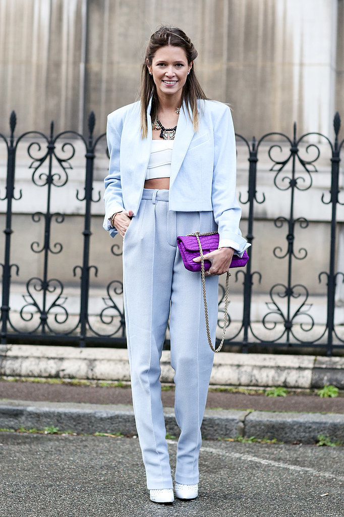 Crop tops, pastels and a pretty smile — we love this look.