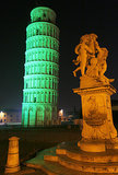 The Leaning Tower of Pisa was all aglow for St. Patrick's Day.