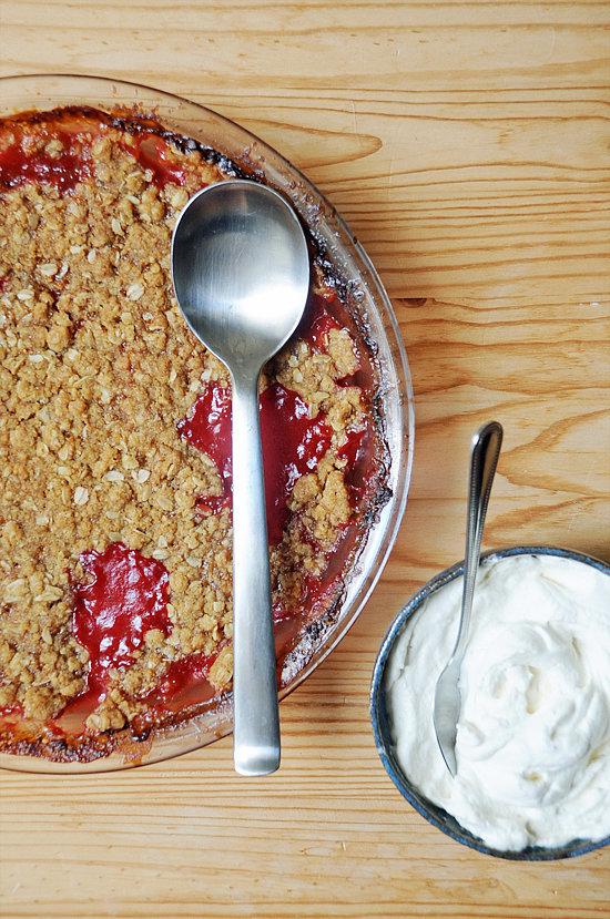 Strawberry Rhubarb Crumble With Cardamom Cream