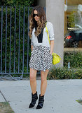 Kate Beckinsale in a Printed Dress With Yellow Bag